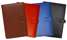 British Tan, Red, Blue, Black Leather Bound Journal Covers